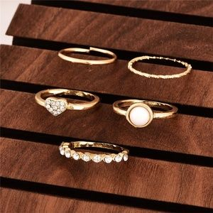 New 5 Pc Midi Ring Set